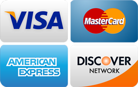 Photo of Visa, Mastercard, AmEx, and Discover logos